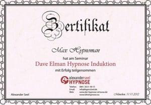 Dave Elman Hypnose Zertifikat unterschrieben von Alexander Seel